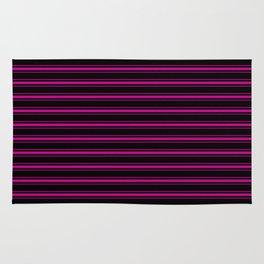 Large Black and Neon Pink Mattress Ticking Bed Stripes Rug