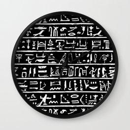 Egyptian Hieroglyphics // Black Wall Clock