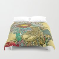 writer Duvet Covers featuring The Writer by Theo Szczepanski