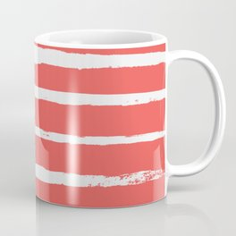 Irregular Hand Painted Stripes Coral Red Coffee Mug