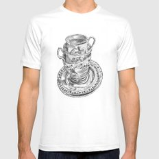 Stacked Tea Cups MEDIUM Mens Fitted Tee White