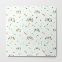 Light mint green pink white cute easter bunny floral Metal Print