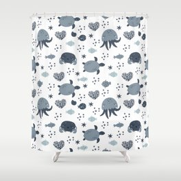 Sea animals patterns Shower Curtain
