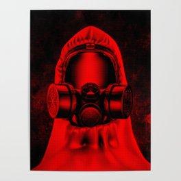 Toxic environment RED / Halftone hazmat dude Poster