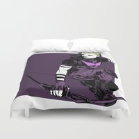 clint eastwood Duvet Covers featuring Clint Barton by The Radioactive Peach