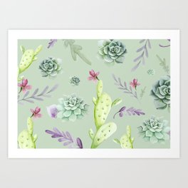 Cactus Watercolor Pattern 5 Art Print
