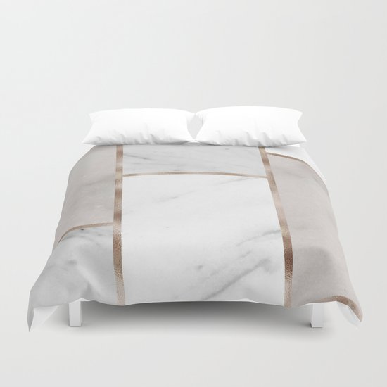 Taupe Stones Rose Gold Adorns Duvet Cover By Marbleco