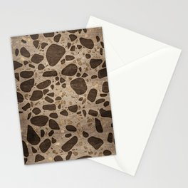 Terrazzo - Mosaic - Wooden texture and gold #6 Stationery Cards