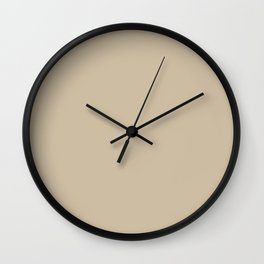 Neutral Beige Tan Light Brown Solid Color Parable to Sherwin Williams Ramie SW 6156 Wall Clock