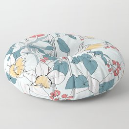 Bouquet of daffodils and tulips Floor Pillow