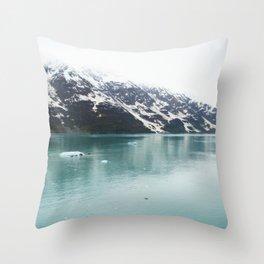 Hubbard Glacier Snowy Mountains Alaska Wilderness Throw Pillow