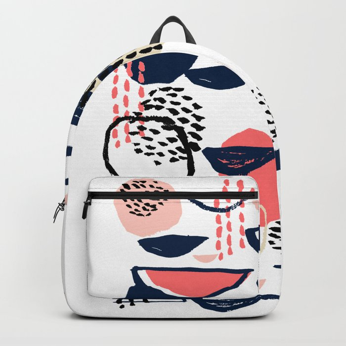 Cheli - modern abstract art print brushstroke painting trendy hipster peach pink pastel navy abstrac Backpack