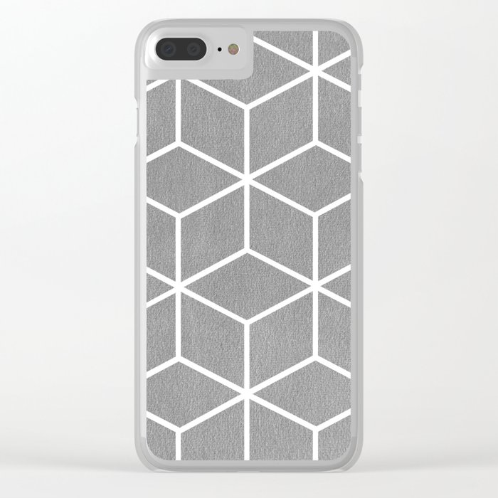 Light Grey and White - Geometric Textured Cube Design Clear iPhone Case