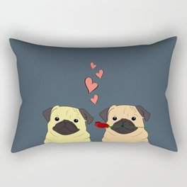 Valentines Pugs Rectangular Pillow