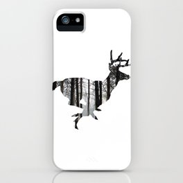 Deer forest winter silhouette iPhone Case