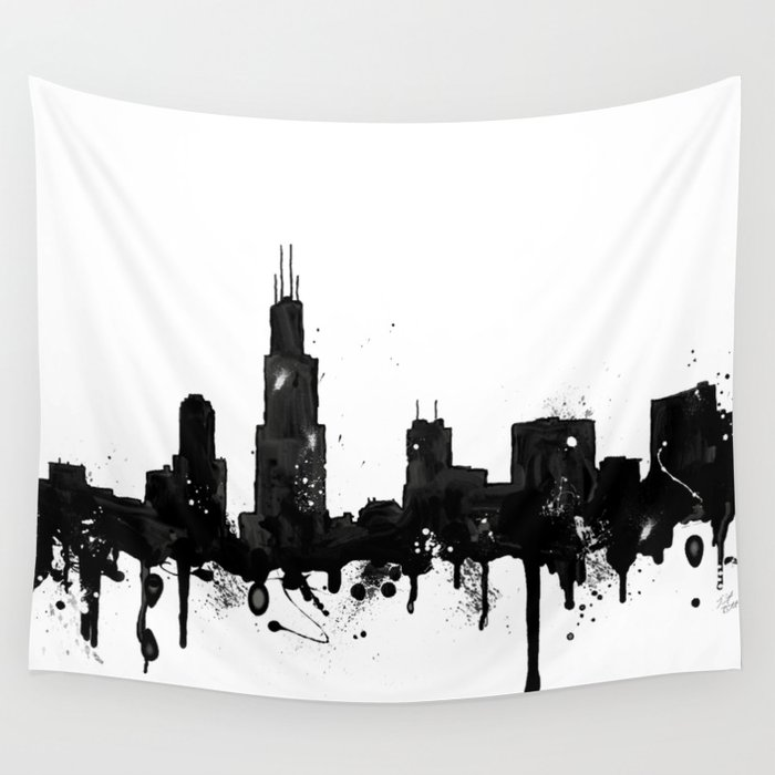 Chicago Map Loop%0A Watercolor Chicago Skyline Wall Tapestry