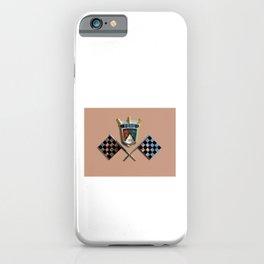 Vintage 1955 Thunderbird emblem badge with checkered flags on Buckskin Tan iPhone Case