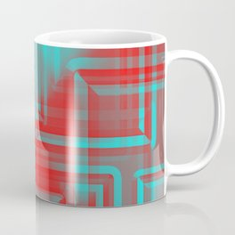 Diagonal pattern of indigo squares on mirrored triangles from a reflective pyramid.  Coffee Mug