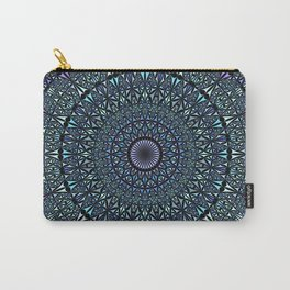 Blue Sacred Kaleidoscope Mandala Carry-All Pouch