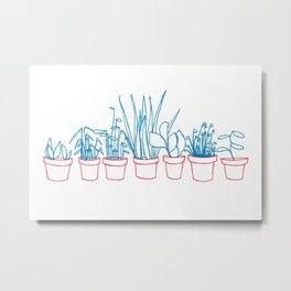 Teal Plants in Red Pots Metal Print
