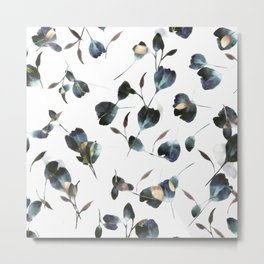 Blue Watercolor Wildflowers Metal Print
