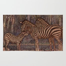 Vintage Zebra Painting (1909) Rug