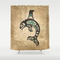 killer whale Shower Curtains featuring Blue and Black Haida Spirit Killer Whale by Jeff Bartels