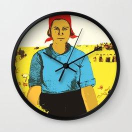 Feeding the nation  - Soviet union poster propaganda  Wall Clock