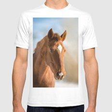 Brown Horse Winter Sky White Mens Fitted Tee MEDIUM