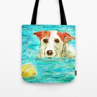jack russell Tote Bags featuring Jack Russell Terrier by gretzky