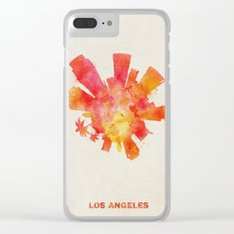 Los Angeles, California Colorful Skyround / Skyline Watercolor Painting Clear iPhone Case