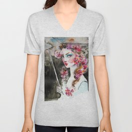 Girl with roses and an umbrella Unisex V-Neck