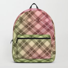 Pink green, plaid Backpack