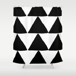 Mountains - Black and White Triangles Shower Curtain