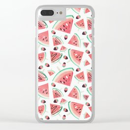 Watermelon popsicles, strawberries and chocolate Clear iPhone Case