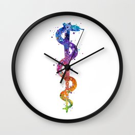 Rod of Asclepius Art Pharmacy Art Colorful Watercolor Decor Chemistry Art Doctors Office Decor Wall Clock