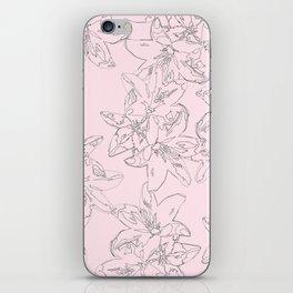 pink line art floral pattern iPhone Skin