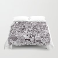 prague Duvet Covers featuring Prague by Justine Lecouffe