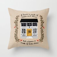 home sweet home Throw Pillows featuring Home by Phillippa Lola