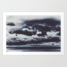 a boat sails alone at an abstract stormy cloudscape Art Print