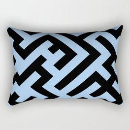 Black and Baby Blue Diagonal Labyrinth Rectangular Pillow