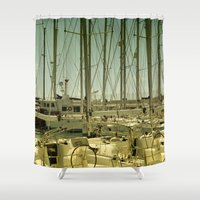 marina Shower Curtains featuring marina by gzm_guvenc