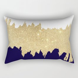 Modern navy blue white faux gold glitter brushstrokes Rectangular Pillow