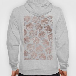 Boho rose gold floral paisley mandala elephants illustration white marble pattern Hoody