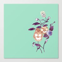 decal Canvas Prints featuring Pansy Decal Purple Peach Mint  by ThistleandFox