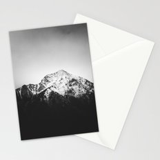 Black and white snowy mountain Stationery Cards