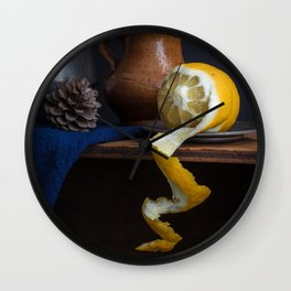 Stil life with lemon peel l Food Photography Art Wall Clock