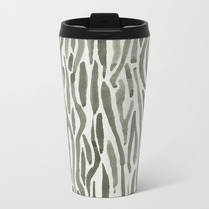 Simply Bonsai Lines in Green Tea and Lunar Gray Metal Travel Mug