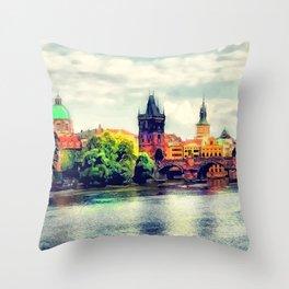 Prague panorama watercolor Throw Pillow