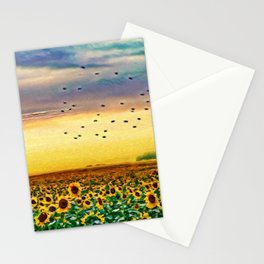 Golden Sunflower Field | Painting Stationery Cards